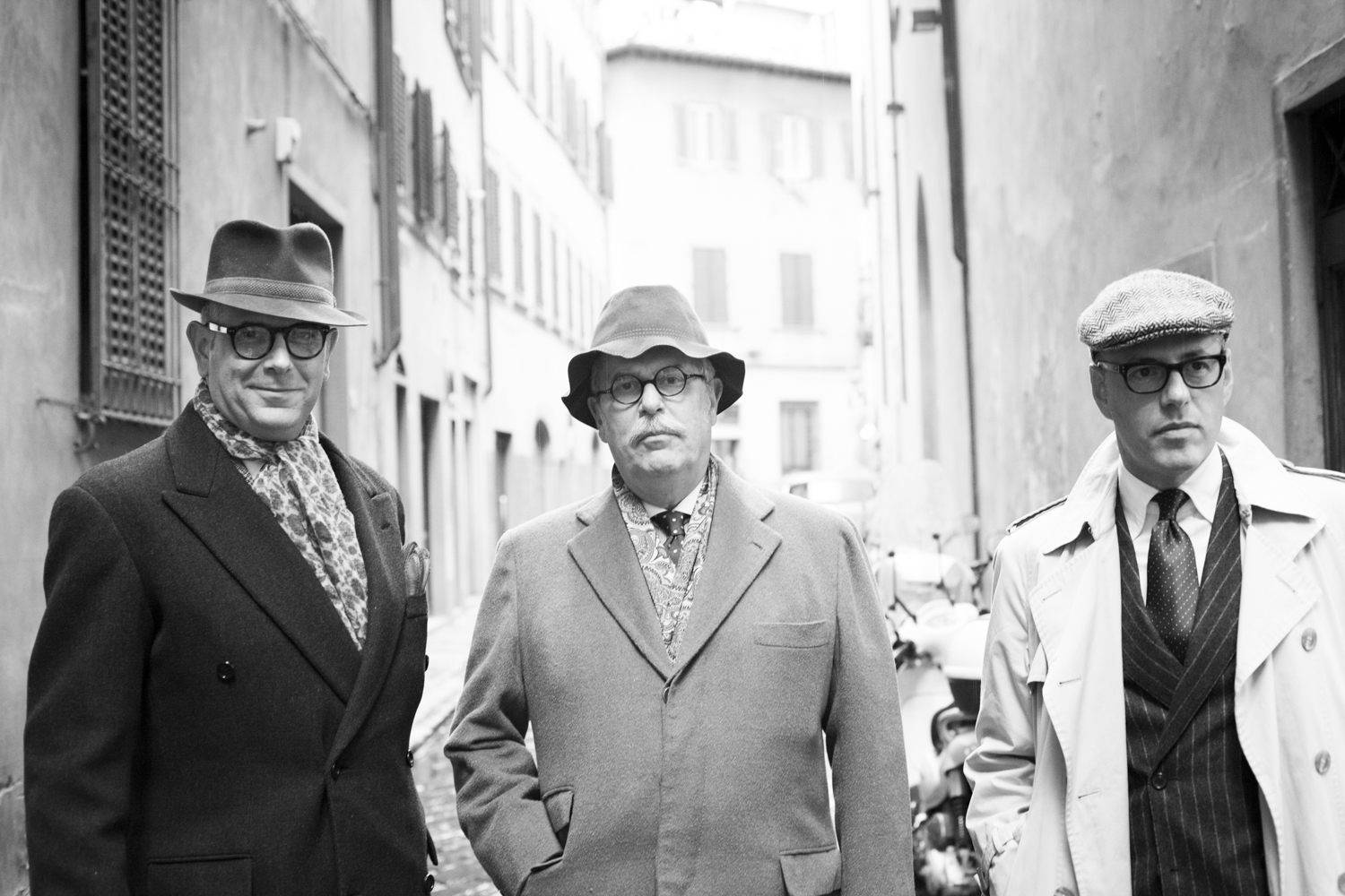 Stilemachile members Livious Brooler, Alfredo de Giglio, Mario Rossi photographed by Rose Callahan in Florence on Jan 14, 2016